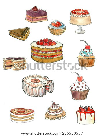 Tasty watercolor cakes illustration poster decoration pencil drawing art
