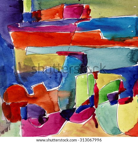 Abstract watercolor ink illustration paper oil acrylic hand drawn painting