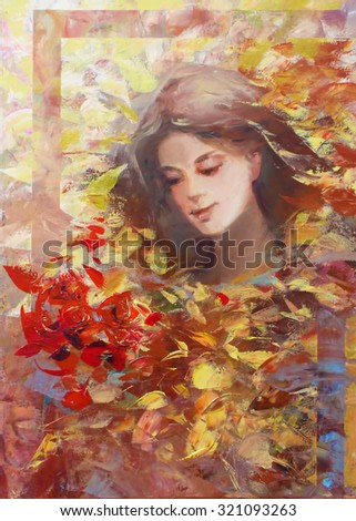 lovely woman handmade painting