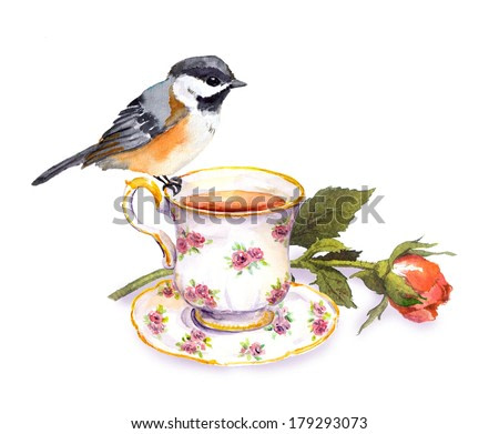 Hand drawn small watercolor bird on tea cup with rose flower