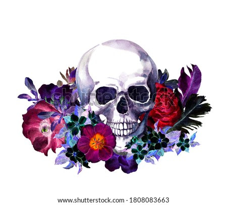 Human skull with red, black flowers and feathers in vintage boho style. Watercolor  in dark night colors for Halloween, Mexican day of Dead