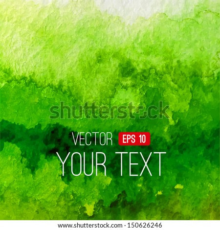 Abstract vector watercolor background. Green handmade background. Painting design element. Watercolor backdrop can be used for web page background, identity style, printing, etc.