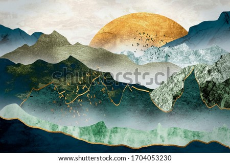 The green golden mountains by sunset