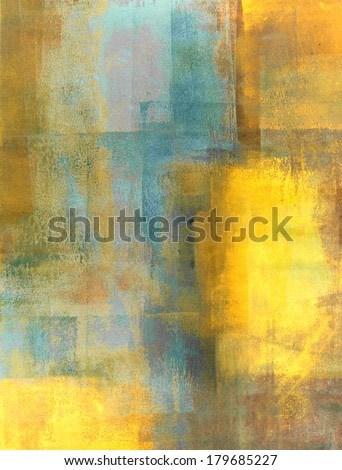 Teal and Yellow Abstract Art Painting