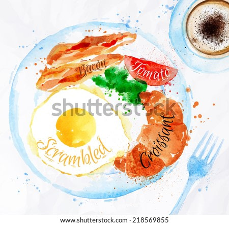 Breakfast painted with watercolors on a plate eggs, bacon, lettuce, tomato, cup of coffee, fork.