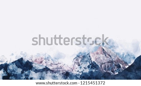 Mountain range in winter paining in blue tone on white background,  digital watercolor painting