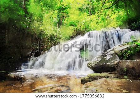Abstract painting of waterfall, nature landscape image, digital watercolor illustration, art for background