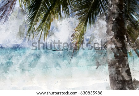Coconut palm tree on the beach, blue shade image,  digital watercolor painting