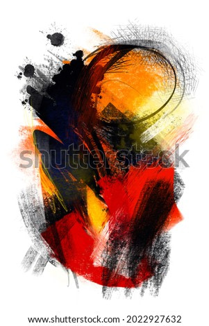 Abstract digital painting on paper texture with hand drawn brush strokes in Kandinsky or Hartung style, modern, contemporary art for decoration, postcard, book cover, background