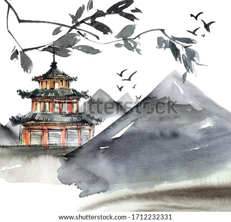 Watercolor and ink illustration of chinese landscape with pagoda, mountains, flying birds and tree in style sumi-e, u-sin. Traditional asian architecture. Oriental traditional painting.