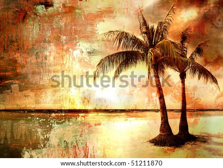tropical sunset - artwork in painting style