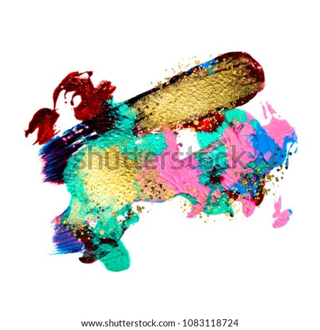 Art and Gold. Red passion. Trendy color with golden paint and sequins. Very beautiful abstraction. Multi-coloured spot, acrylic paint, modern art, hand drawn painting, contemporary art.
