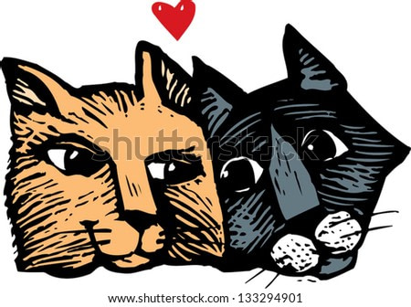 Vector illustration of two cats in love