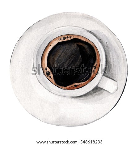 Isolated watercolor illustrated hot coffee in a white porcelain cup from above top view