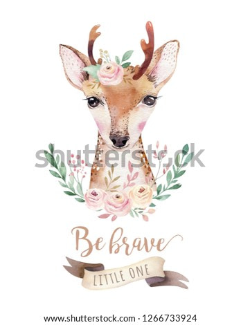 Watercolor forest cartoon isolated cute baby deer animal with flowers. Nursery woodland illustration. Bohemian boho drawing for nursery poster, pattern