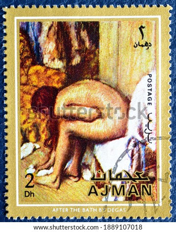 Ajman - circa 1971 : Cancelled postage stamp printed by Ajman, that shows painting After the bath by Degas, circa 1971.