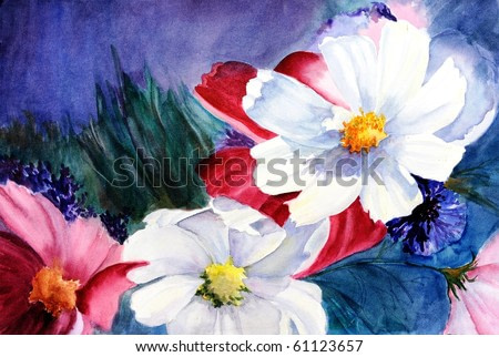 watercolor painting of cosmos flowers