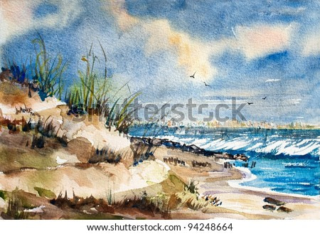 original watercolor art painting of the ocean, surf, and sand