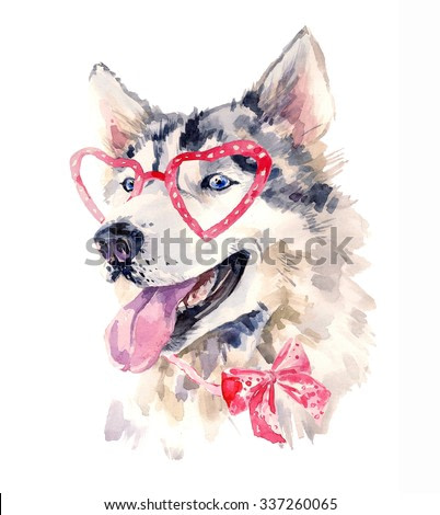 Watercolor dog in red  heart shaped glasses. Fashionable animal with a bow. Smart sheepdog with wise look. Unusual hand drawn illustration for fashion posters, print, T-shirt, banners, card design