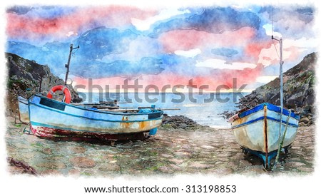 Watercolor painting of fishing boats at Penberth Cove in Cornwall