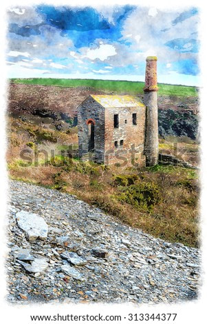Watercolour painting of an old engine house in Cornwall