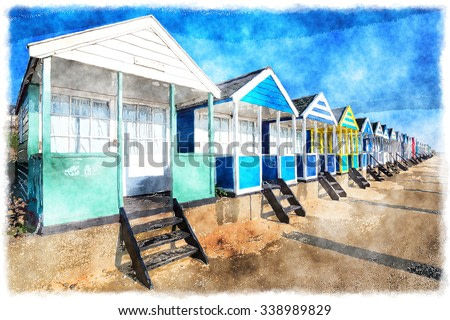 A watercolour painting of a row of colourful beach huts under a deep blue sky at Southwold in Suffolk