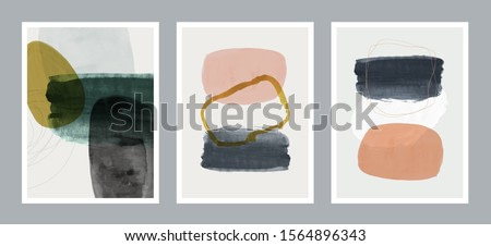 Set of creative minimalist hand painted illustrations for wall decoration, postcard or brochure cover design. Vector EPS10.