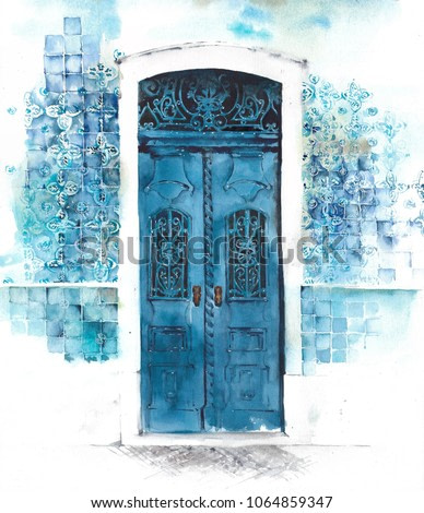 Door old painted vintage ornament decorative glazed tile wall watercolor painting illustration