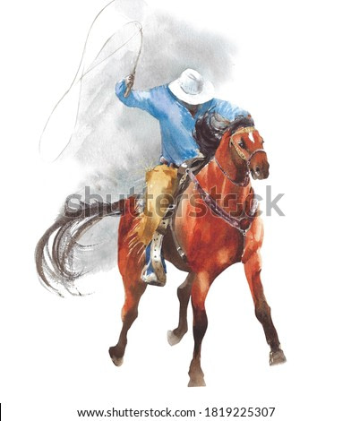 Cowboy riding a horse rodeo American tradition sport watercolor painting illustration isolated on white background