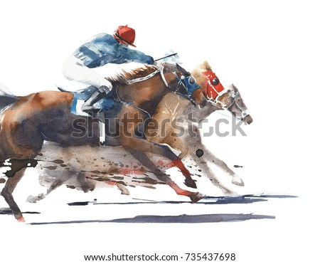 Horse race competition derby racing horses with jockeys watercolor painting illustration isolated on white background