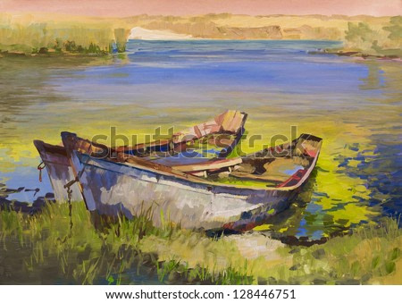 Painting.The picture is written by me in 2010. Used paper and gouache. Drawing boats on coast lake.
