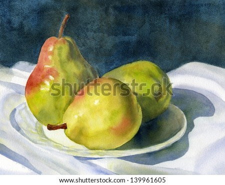 Three Green Pears. Watercolor painting of three green pears on a plate.