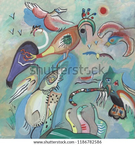 Abstract picture, many kinds of exotic birds