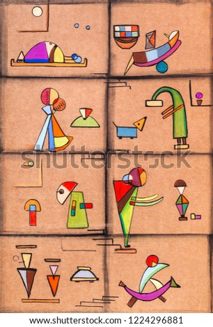 floors with people, picture in modern style,