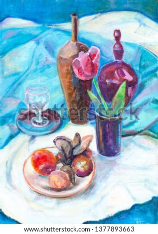 Still life with tulip in ceramic vase and fruits