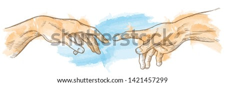 creation of adam hand drawn Watercolor painting