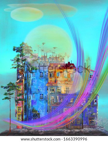Surreal rainbow movement, over the squal of old houses.. Artwork.