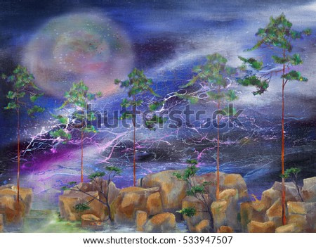 Five pine-trees and stone in stormy weather