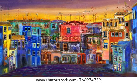 Painting with evening street
