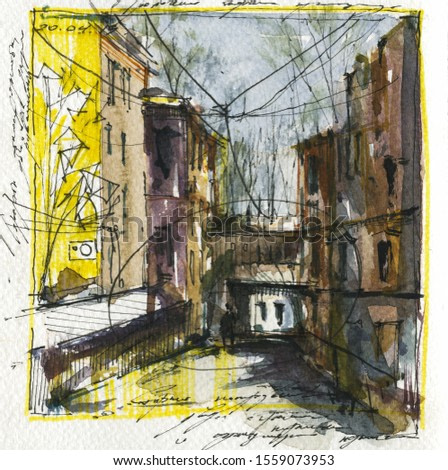 Old European town street hand drawn watercolor illustration. Ancient architecture aquarelle painting with illegible scribbles. Person silhouette on empty road with arc passage in background