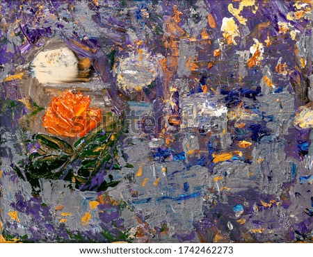 Abstract 3D rendering painting with vibrant colors and brushstrokes textures. Artistic unique painting.
