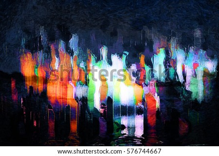city abstraction digital painting, night city lights inspiration abstract painting, a megapolis abstract view