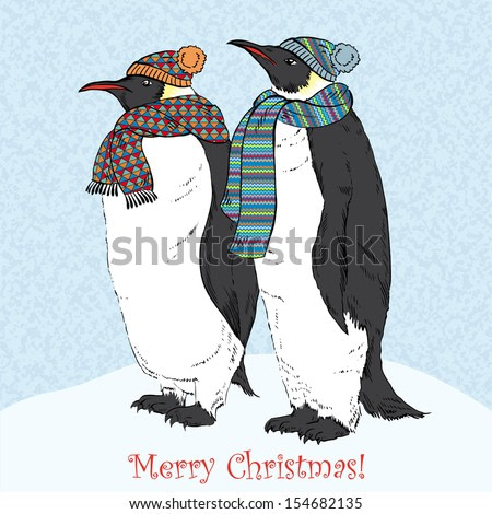 Vector Illustration of Funny Penguins in Knitted Scarfs and Hats, Greeting card