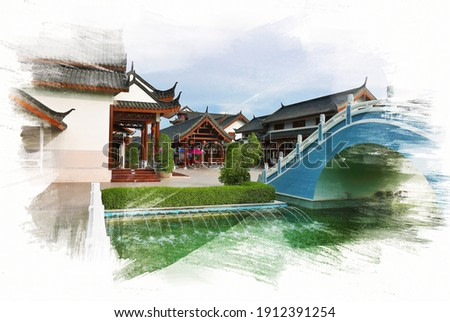 Scenery Chinese architectures in daytime on digital painting watercolor illustration on paper texture background