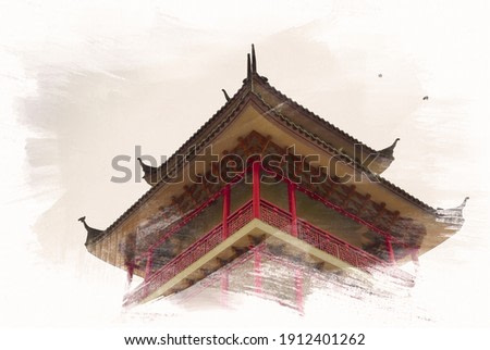 Closeup of Chinese city tower architectures in daytime on digital painting watercolor illustration on paper texture background