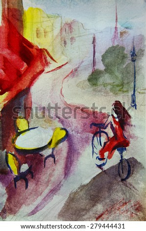 She drives a bicycle. French outdoor european cafe painting, graphic drawing in color