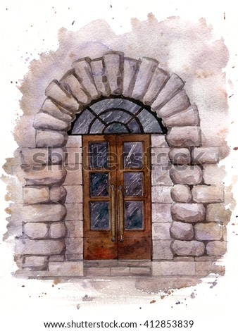 old door in the stone wall of the building, painted in watercolor