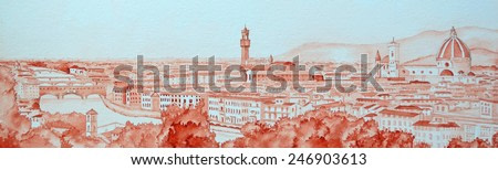 Watercolour Panoramic Cityscape of Florence Italy painted with one colour. Showing the river Arno, the Ponte Vecchio, Palazzo Vecchio, Cathedral of Santa Maria del Fiore Duomo and Campanile.