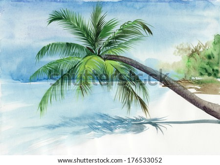 Tropical resort view with a seashore and a palm