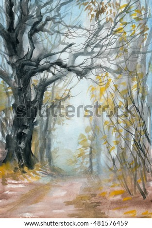 Autumn misty forest with a path and wet air perspective. Original watercolor painting.